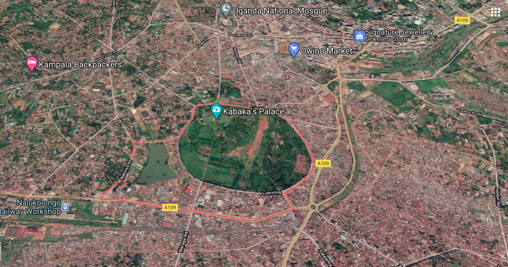 Aerial map showing the Lubiri Circle in the center of Kampala.