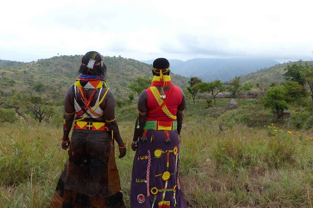Ike tribe's women nature-gaze in Northern Uganda. Over 50 Tribes With Different Culture Live in Uganda.